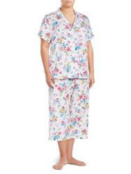 Karen Neuburger Two Piece Floral Capri Pajama Set Blue