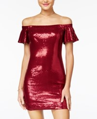 As U Wish Juniors' Sequined Off The Shoulder Bodycon Dress Red