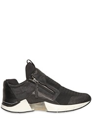 Cinzia Araia Micro Mesh And Crackled Leather Sneakers