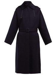 Joseph Carbon Feather Single Breasted Wool Blend Coat Navy
