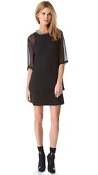 3.1 Phillip Lim Layered Tee Dress With Beaded Collar Soft Black