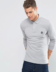 United Colors Of Benetton Long Sleeve Pique Polo Shirt In Muscle Fit Grey 501