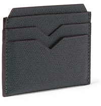 Valextra Pebble Grain Leather Cardholder Green