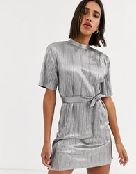 Bershka Tshirt Dress With Tie In Silver Gray