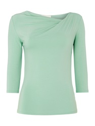 Linea Twist Cowl 3 4 Sleeve Top Green