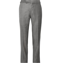 Tom Ford Grey O'connor Slim Fit Super 110S Wool Sharkskin Suit Trousers Gray