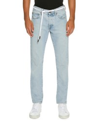 Off White Spray Paint Diagonal Stripe Straight Leg Jeans Light Blue White