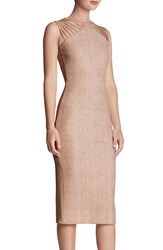 Women's Dress The Population 'Gwen' Foiled Knit Midi Dress Dusty Pink Gold