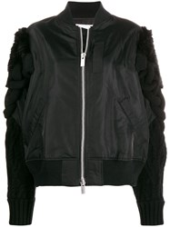 Sacai Knitted Sleeve Bomber Jacket Black
