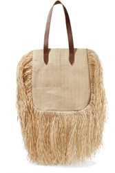 Nannacay Aurora Leather Trimmed Fringed Woven Raffia Tote Sand