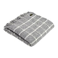 Tweedmill Pure New Wool Chequered Throw Grey