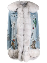 Philipp Plein Denim Cowboy Coat Blue
