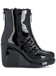 Marc Jacobs Hope Wedge Boots Patent Leather Polyester Rubber Black