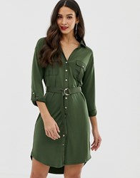 Oasis Utility Shirt Dress In Khaki Green