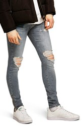 Topman Ripped Spray On Skinny Fit Jeans Blue