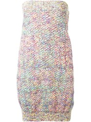 Chanel Vintage Woven Knit Midi Skirt Pink And Purple