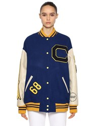 Calvin Klein 205W39nyc Logo Patched Carded Wool Bomber Jacket Blue