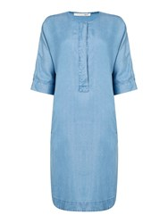 Oui Denim Dress With Short Sleeves And Button Front Blue