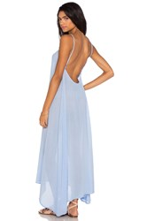 Bobi Gauze Sleeveless Scoop Back Maxi Dress Blue