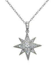 Lord And Taylor Sterling Silver Cubic Zirconia Starburst Pendant Necklace