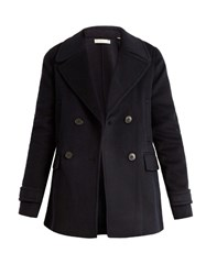 Vince Wool And Cashmere Blend Pea Coat Navy