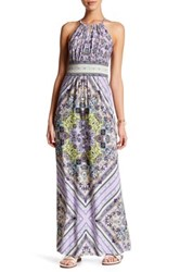 London Times Printed Keyhole Halter Maxi Dress Petite Purple