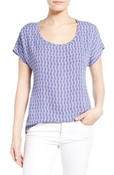 Petite Women's Pleione Scoop Neck Short Sleeve Blouse Blue Zig Zag Block