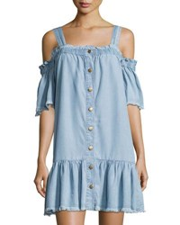 On The Road Chloe Button Front Denim Dress Blue