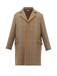Marni Single Breasted Checked Wool Overcoat Beige