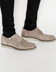 River Island Monk Shoes With Wedge Sole In Grey