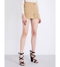 Sandro Patch Pocket Mid Rise Cotton And Linen Blend Shorts Beige