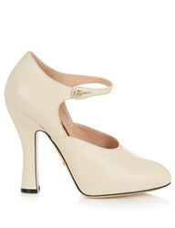 Gucci Lesley Leather Pumps White