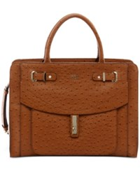 Guess Kingsley Satchel Cognac Ostrich Faux Leather