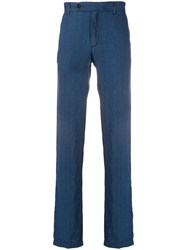 Massimo Alba Linen Chino Trousers Blue