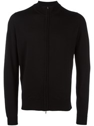 John Smedley High Neck Zipped Cardigan Black
