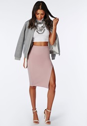 Missguided Thigh High Split Scuba Midi Skirt Mauve Mauve