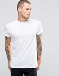 New Look Roll Sleeve T Shirt In White White