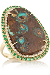 Kimberly Mcdonald 18 Karat Gold Yowah Opal Emerald And Diamond Ring