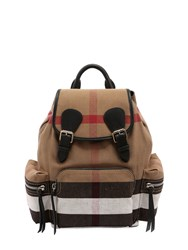 Burberry Medium Rucksack Check And Leather Backpack