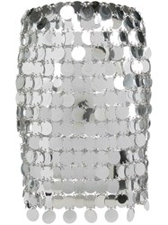 Paco Rabanne Short Sequined Skirt Silver