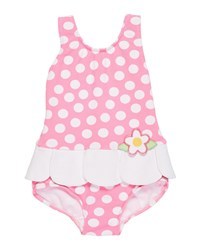 Florence Eiseman Petal Skirt Polka Dot One Piece Swimsuit Size 6 24 Months Pink White