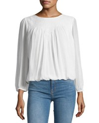 Joie Leia Silk Woven Yoke Blouse White