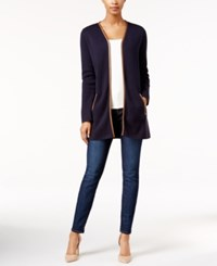 Charter Club Faux Leather Trim Cardigan Only At Macy's Deepest Navy