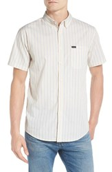 Brixton Men's 'Howl' Short Sleeve Plaid Woven Shirt Off White Blue