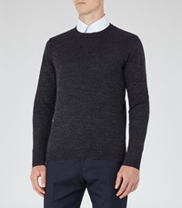 Reiss Parker Mens Melange Cotton Jumper In Blue