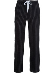 Second Layer Pinstripe Straight Trousers Black