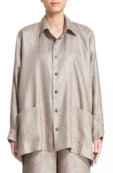 Women's Eskandar Surface Printed Linen Twill Jacket