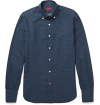 Isaia Slim Fit Herringbone Cotton Shirt Blue