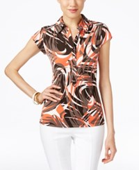 Alfani Printed Cap Sleeve Polo Top Only At Macy's Whirl Waves Coral