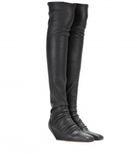 Rick Owens Leather Over The Knee Boots Black